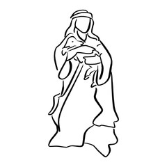 shepherd holding a sheep in nativity scene vector illustration sketch doodle hand drawn with black lines isolated on white background