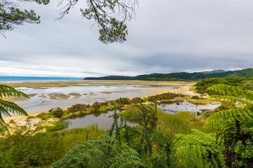 Desert tropical island beach, peaceful and calm landscape. Abel Tasman National Park, New Zealand
