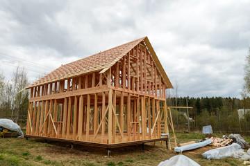 construction of frame houses on the pillar foundation