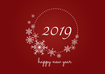 Happy New Year 2019 background. celebration with snowflake on red background modern style. Vector Illustration