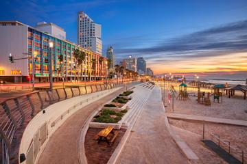 Tel Aviv Promenade. Cityscape image of Tel Aviv, Israel during sunset.
