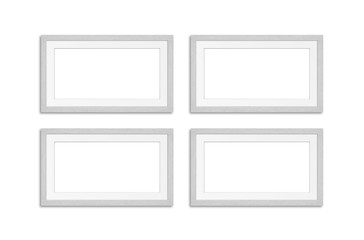 Photo frames mock up, four blank wooden frameworks collage isolated on white