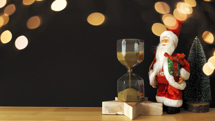 hourglass with Santa Claus Christmas time