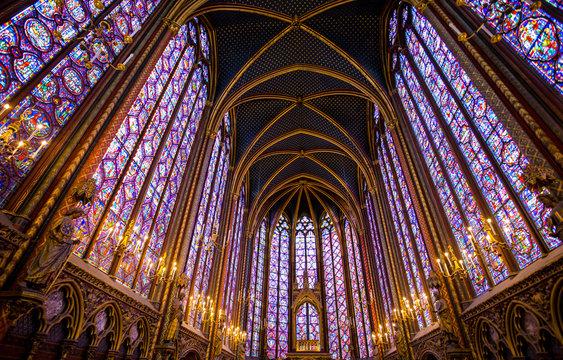 PARIS, FRANCE, SEPTEMBER 6, 2018 - Stained glass windows inside the Sainte Chapelle in Paris, France