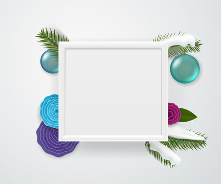 Empty square white frame on a wall. Winter holidays concept