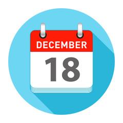 December 18 Single Day Calendar Flat Style