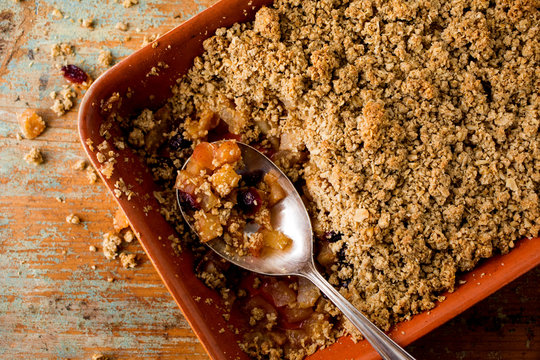 Close up of baked crumble in casserole