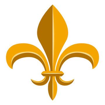 Golden fleur de lys symbol. Vector illustration design