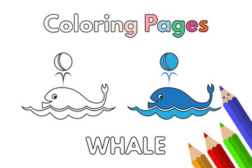 Cartoon Whale Coloring Book