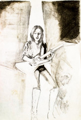 A woman in boots and an electric guitar sings a song. Pencil drawing