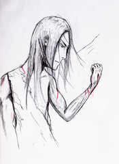 Anime hero man with long hair injured his hand and looks at the wound