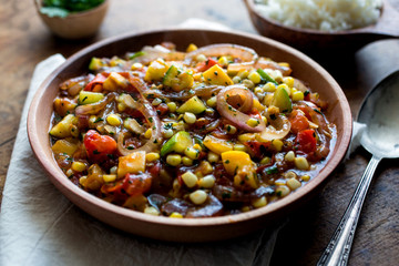Close up of stir fried vegetables served on plate