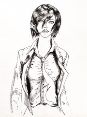 Business lady with a cigarette and jacket unbuttoned. Smoking among women drawing with a pencil and mascara