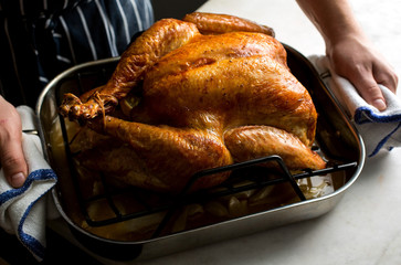 Close up of man's hand holding baked turkey in baking tray
