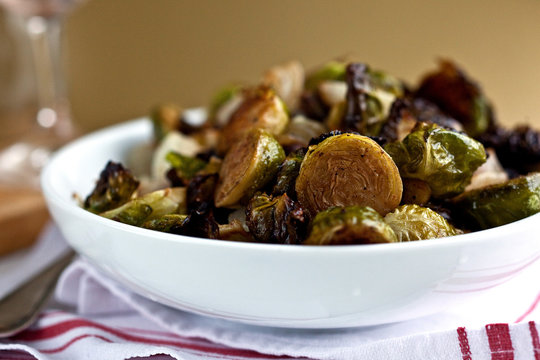 Close up of roasted brussels sprouts served on plate