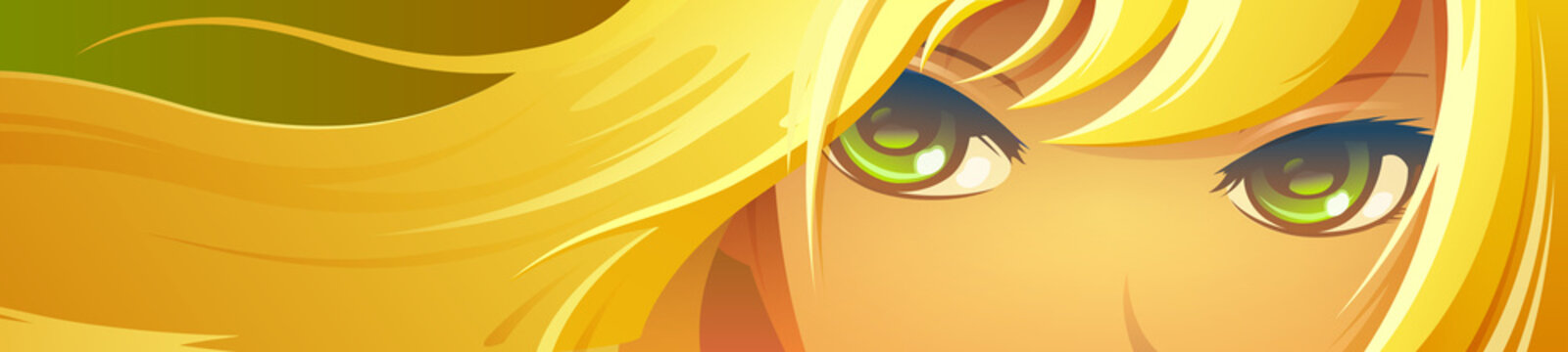 Girl face with green eyes. Cartoon anime style.
