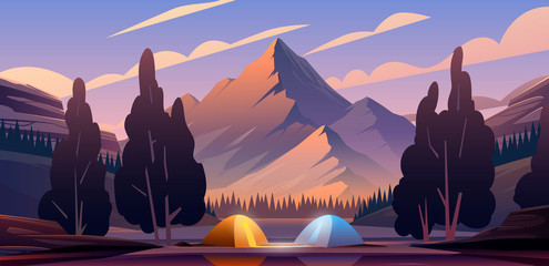 Beautiful vector illustration. The camping place into Mountains. Wall mural