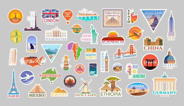 Set of vector travelling stickers colliction. Around the world