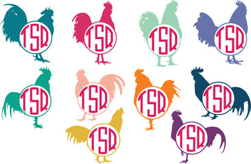 Rooster silhouette - circle frame monogram. Vector icon isolated on white background - Vector