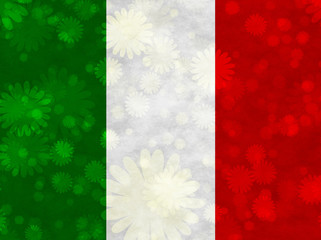 Italian flag with blooms scattered around