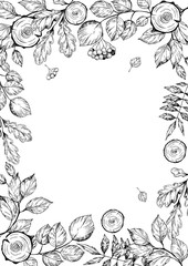 Floral decorative frame with forest tree brunches and leaves. Hand drawn illustration. Vector
