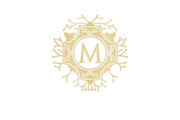 Initial M, Wedding boutique Logo Designs Inspiration Isolated on White Background