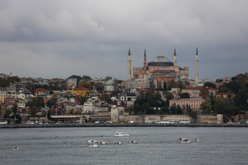 Waterfront harbor on the Bosporus Strait of Istanbul, Turkey