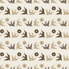 Pretty folk art style birds and flowers in neutral colors make this seamless vector pattern unique. Has both a modern and retro feel. Good for textiles, fashion, home decor and stationery uses.