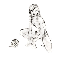 The girl sat down next to a volleyball, pencil drawing
