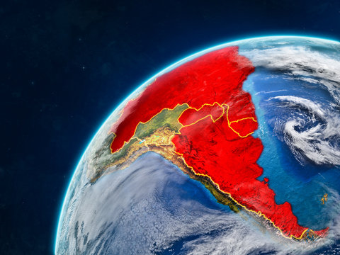 Mercosur memebers on realistic model of planet Earth with country borders and very detailed planet surface and clouds.