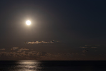 Full moon and night Pacific / Pacific Ocean from Chiba Prefecture, Japan