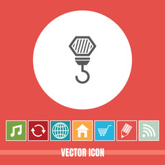 very Useful Vector Icon Of Crane Hook with Bonus Icons Very Useful For Mobile App, Software & Web