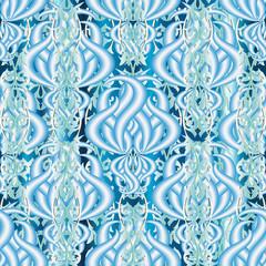 Elegance floral light blue 3d vector seamless pattern. Ornamenta