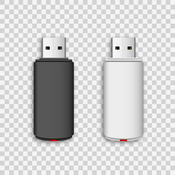 Vector isolated USB pen drives, black and white flash disks on transparent background