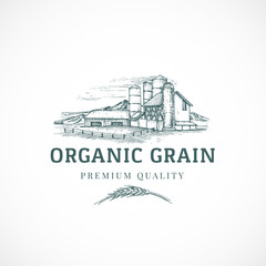 The Organic Grain Elevator Abstract Vector Sign, Symbol or Logo Template. Elegant Farm Landscape Drawing Sketch with Classy Retro Typography. Rural View and Buildings Vintage Luxury Emblem.