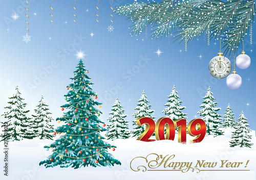 happy new year 2019 christmas festive tree on the background of the winter landscape