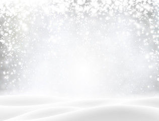 Shiny background with winter landscape and snow for seasonal, Christmas and New Year design.