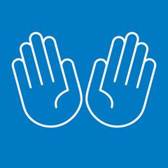 Hände offen, zehn Finger - Icon, Piktogramm, grafisches Element - blau, weiß