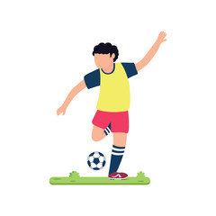 flat design soccer player is kicking the ball