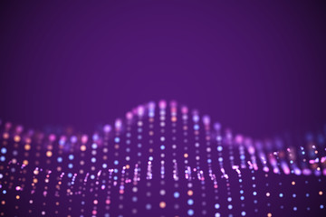 Fototapeten Violett Abstract digital landscape or soundwaves with flowing particles. Big data technology background. Visualization of sound waves. Virtual reality concept: 3D digital surface. EPS 10 vector illustration.