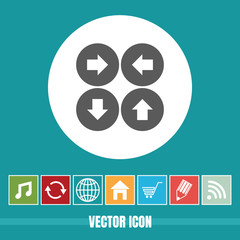 very Useful Vector Icon Of 4 Sided Arrow with Bonus Icons Very Useful For Mobile App, Software & Web