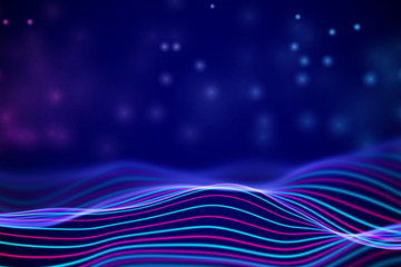 3D Sound waves with floating particles. Data abstract visualization. Digital concept: virtual landscape. Futuristic background. Colored sound waves, audio waves equalizer, EPS 10 vector illustration