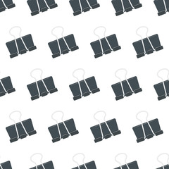 Seamless pattern with stationery clip on white background