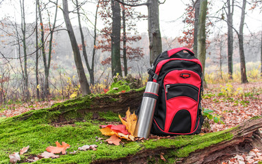 hiking in the autumn forest with hot tea