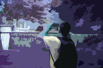 Man taking photos with phone during day and night, paper illustration effect