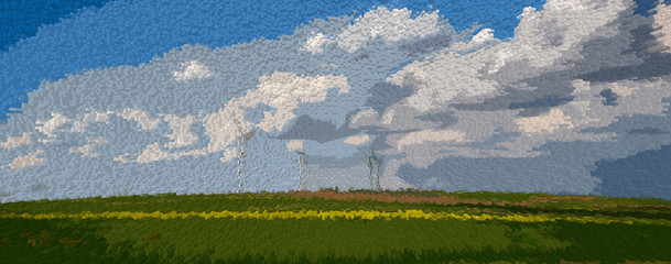 Electric fans landscape illustration