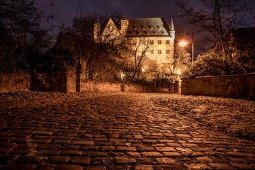 zamek w Marburgu (Niemcy) zjęcia nocne