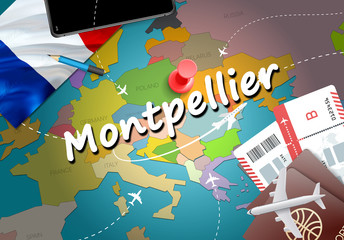 Montpellier city travel and tourism destination concept. France flag and Montpellier city on map. France travel concept map background. Tickets Planes and flights to Montpellier French vacation