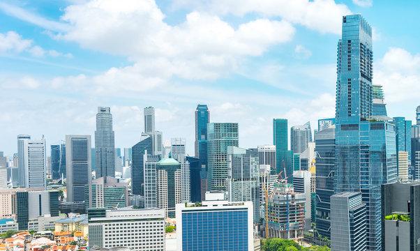 Aerial panorama of Singapore metropolis
