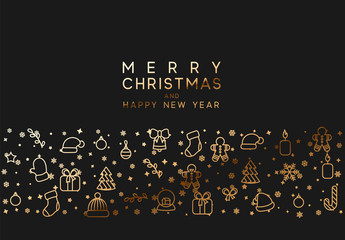 Merry Christmas and happy new year. Black background with festive gold linear style